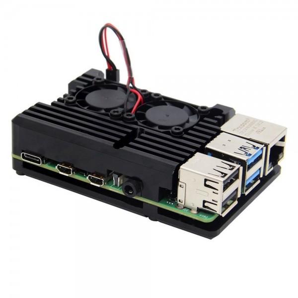 Armor Gehäuse mit Lüfter für Raspberry Pi 4, schwarz