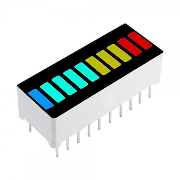 10 Segment LED Bargraph Anzeige, 10 Balken, 1x rot / 3x gelb / 4x grün / 1x blau