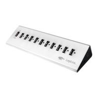 LogiLink USB 2.0 Hub, 10-Port + 1x Schnellladeport, Aluminium, inkl. Netzteil