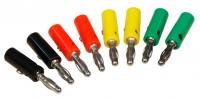Bananenstecker-Set, 4mm, Querloch, Druckfeder, 4 Farben, 8-teilig