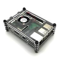 Gehäue für Raspberry Pi 3B+, 3B, 2B mit Lüfter, stackable, transparent/schwarz