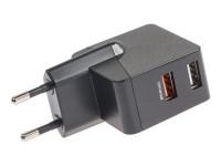 USB 2 Port Netzteil / Ladeadapter 5V / 3,4A schwarz